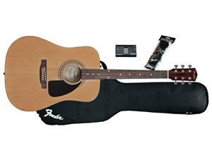 Fender offers a Complete F100 Acoustic Guitar Package